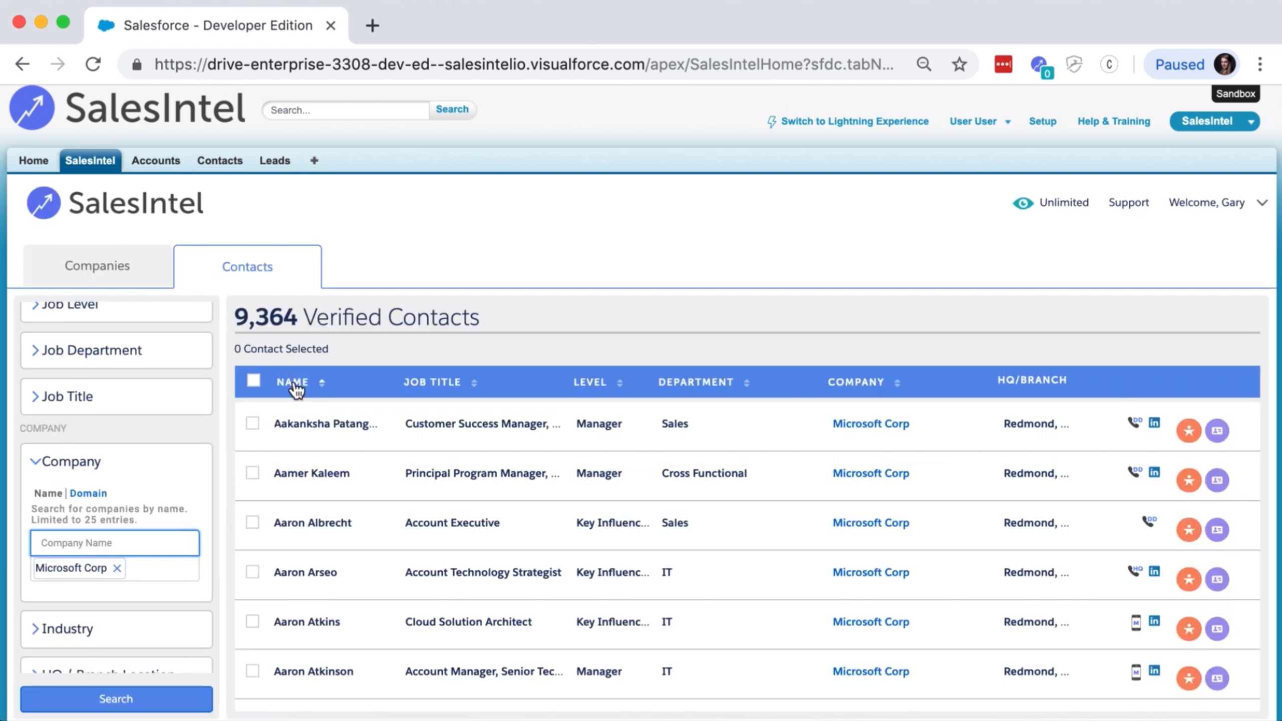 Salesforce Integration with SalesIntel